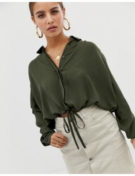 Asos Design Soft Long Sleeve Shirt With Tie Waist Detail by Asos Design