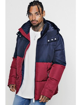 Colour Block Puffer With Popper Sides by Boohoo Man