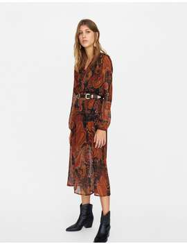 Printed Midi Dress by Stradivarius
