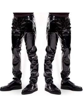 Fashion Men's Trousers Zipper Patent Leather Long Pants Pvc Club Clubwear Usa by Ebay Seller