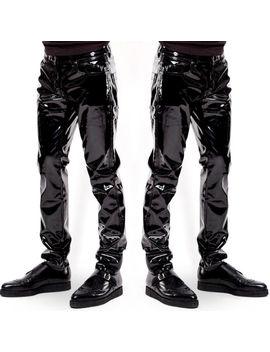 Fashion Men's Trousers Zipper Patent Leather Long Pants Pvc Club Clubwear Usa by Ebay Seller