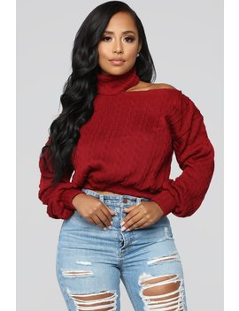 Cut Me Off Sweater   Wine by Fashion Nova