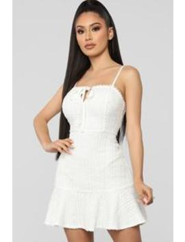 Crochet Cutie Mini Dress   White by Fashion Nova