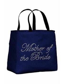 Bridal Party Rhinestone Bride Bridesmaid Maid Of Honor Tote Bags For Bachelorette Or Wedding Day by Zynotti