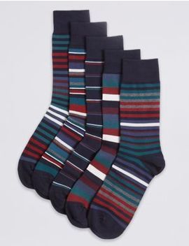 5 Pack Cool & Freshfeet™ Cotton Rich Socks by Marks & Spencer