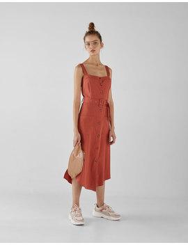 Tencel® Dress With Belt by Bershka
