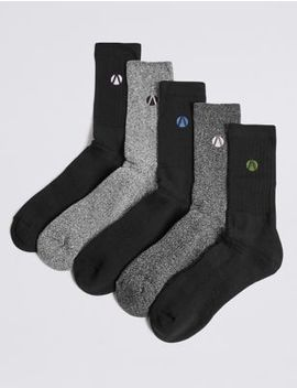 5 Pack Cotton Rich Socks by Marks & Spencer