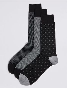 3 Pack Cotton Rich Socks by Marks & Spencer