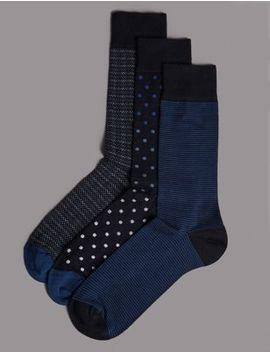 3 Pack Modal Blend Assorted Socks by Marks & Spencer