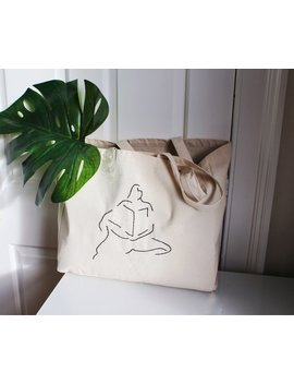 Minimal Tote / Canvas Tote Bag / Eco Bag / Embroidered Tote / Line Art / Zero Waste / 100 Percents Cotton by Etsy