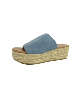 Women's Denim Flatform Sandal by Big Buddha