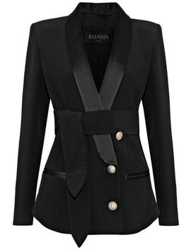 Tie Front Satin Trimmed Crepe Blazer by Balmain