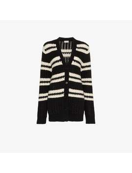 Striped Long Sleeve Cardigan by Saint Laurent