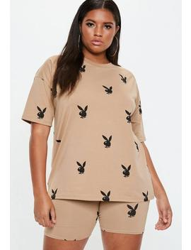 Playboy X Missguided Plus Size Camel T Shirt by Missguided