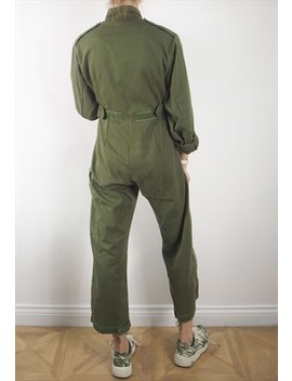 Vintage Khaki Army Boilersuit by Kapada Vintage