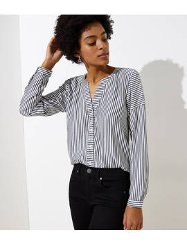 Mixed Stripe Split Neck Shirt by Loft