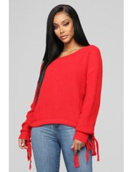 Break Free Sweater   Red by Fashion Nova