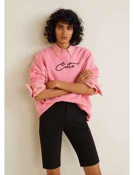 Sweatshirt Met Fluwelen Boodschap by Mango