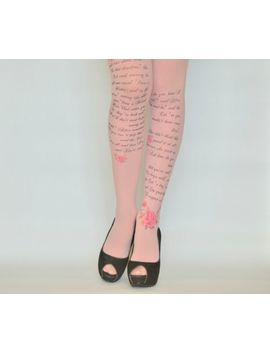 Alice In Wonderland Printed Tights , Design Tights With Text , Literature Fashio by Coline