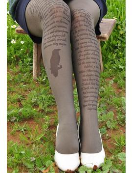 Edgar Allan Poe Tights   Gothic Women Clothing Fairy Land   Gray,Christmas Gift,Back To School, Goth Clothing   Poems,Women Tights by Etsy