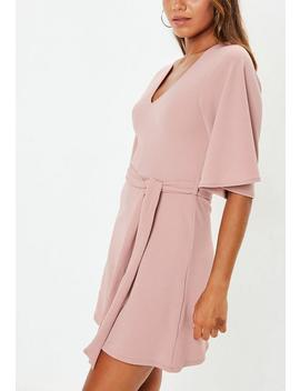 Pink Kimono Sleeve Plunge Dress by Missguided