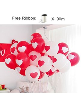 L Att Liv Heart Balloons 12 Inches 50 Packs Printed Heart Balloons Latex Balloons Red/White by L Att Liv