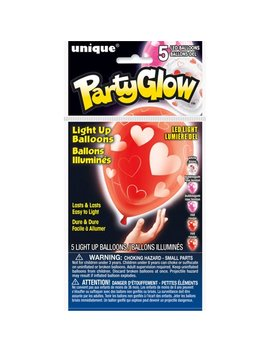 "10"" Hearts Valentine's Day Led Light Up Balloons, 5ct by Unique Industries"