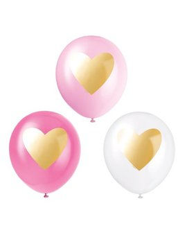 Latex Gold Heart Balloons, 12 In, Pink & White, 6ct by Unique Industries