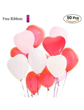 L Att Liv Heart Balloons 50 Packs 12 Inch Latex Balloons   Pink/White/Red by Putwo