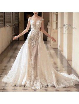 T14, Detachable Bridal Overskirt, Lace Bridal Overskirt, Wedding Dress Overskirt, Removable Tulle Overskirt, Removable Bridal Overskirt by Etsy