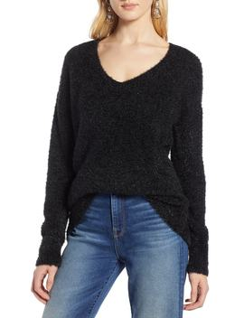 Fuzzy V Neck Sweater by Halogen®