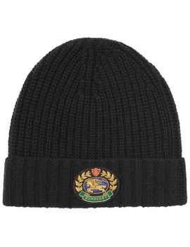 Embroidered Crest Rib Knit Wool Cashmere Beanie by Burberry