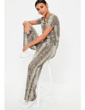 Petite Grey Co Ord Snake Print T Shirt by Missguided