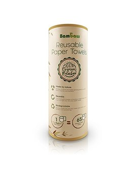 Reusable Paper Towel | Bamboo Eco Kitchen Roll | Multipurpose | Strong, Thick And Absorbent |100 Percents Organic | Soft On Skin | Quick Dry And Antibacterial | 20 Reusable Sheets | Bambaw by Bambaw