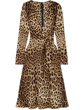 Leopard Print Crepe De Chine Midi Wrap Effect Dress by Dolce & Gabbana
