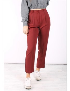 Vintage 80s High Waist Trousers In Maroon Red by Style Of The Salvaged