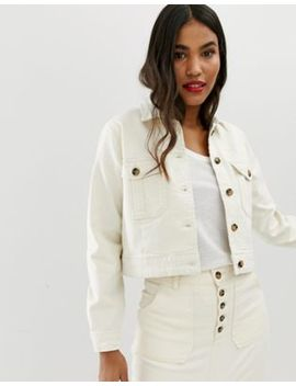Asos Design Denim Premium Utility Jacket In Off White by Asos Design