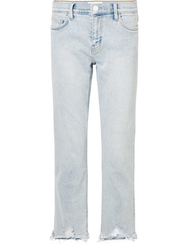 The Cropped Distressed Mid Rise Straight Leg Jeans by Current/Elliott