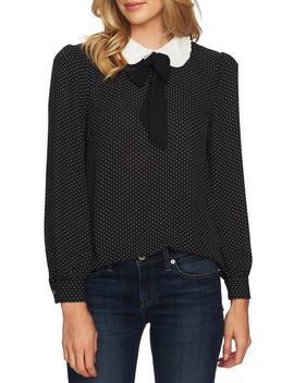 Refined Pin Dot Collared Tie Neck Blouse by Cece