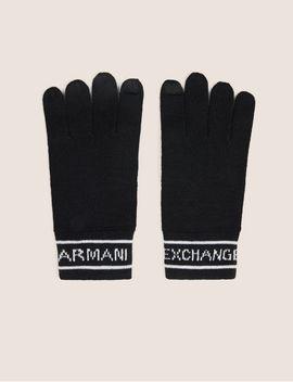 Logo Knit Gloves by Armani Exchange