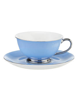 John Lewis & Partners Cupola Cup And Saucer, 210ml, Light Blue by John Lewis & Partners