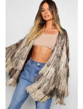 Premium Metallic Fringe Knit Cardigan by Boohoo
