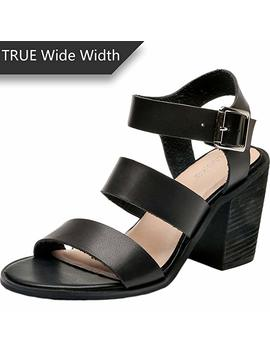 Women's Wide Width Heeled Sandals   Classic Low Block Heel Open Toe Ankle Strap Suede Summer Shoes. Black by Luoika
