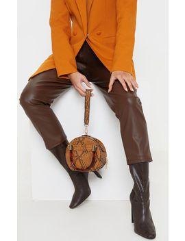 Tan Snakeskin Tortoiseshell Handle Cross Body Bag by Prettylittlething