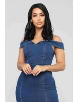 Katie Denim Dress   Dark Wash by Fashion Nova