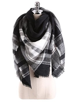 C Stylish Winter Women Oversized Tartan Blanket Scarf With Tassels Plaid Warm Cozy Tartan Wrap Shawl Cape by C Stylish