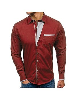 Modoqo Men's Tops, Long Sleeve Shirts Cotton Slim Fit Button Down Collar Shirt Top by Modoqo