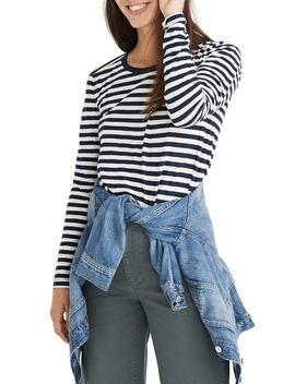 Whisper Cotton Stripe Long Sleeve Crewneck Tee by Madewell