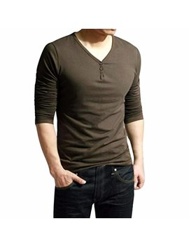 Wm & Mw Men Fashion V Neck Long Sleeve Solid Casual Button Pullover Tops Bottom Shirt Tops T Shirt by Wm & Mw