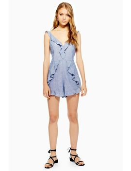 Ruffle Playsuit With Linen by Topshop
